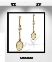 MK0018: BOUCLES OR,OPALE et DIAMANTS
