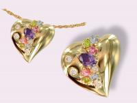 Ref-2655  Coeur multi-pierres spécial fête des Mères