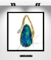 MK0015:  Pendentif opale, or et diamants