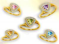 Ref-2561  Bague or diamant et pierre fine