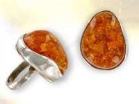 Ref-3415 Bague original en ambre miel