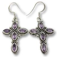 Ref-104142 Amethyst cross earrings