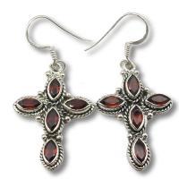 Ref-3442 Garnet cross earrings