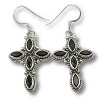 Ref-3440 Boucles d\'oreilles croix onyx noir