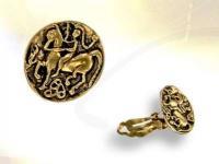 Ref-3326 Paire de boucles monnaie CELTE doré