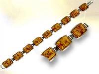 Ref-2476  Bracelet argent et ambre