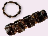 Ref-2117  Bracelet  BOIS FOSSILE