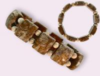 Ref-2121  Bracelet  CORAIL FOSSILE