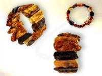 Ref-3741 Bracelet ambre brute multi-color