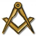 REF 4154 - Gold masonic  lapel pin Square & Compass.