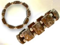Ref-2120  Bracelet  CORAIL FOSSILE