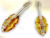 Ref-2592  Broche Violoncelle argent et ambre